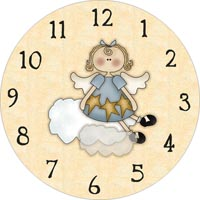 angel sitting on cloud clock face