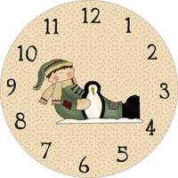 boy and penguin clock face