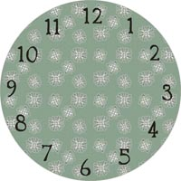 green with snowflakes clock face