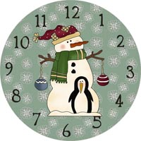 snowman and penguin clock face