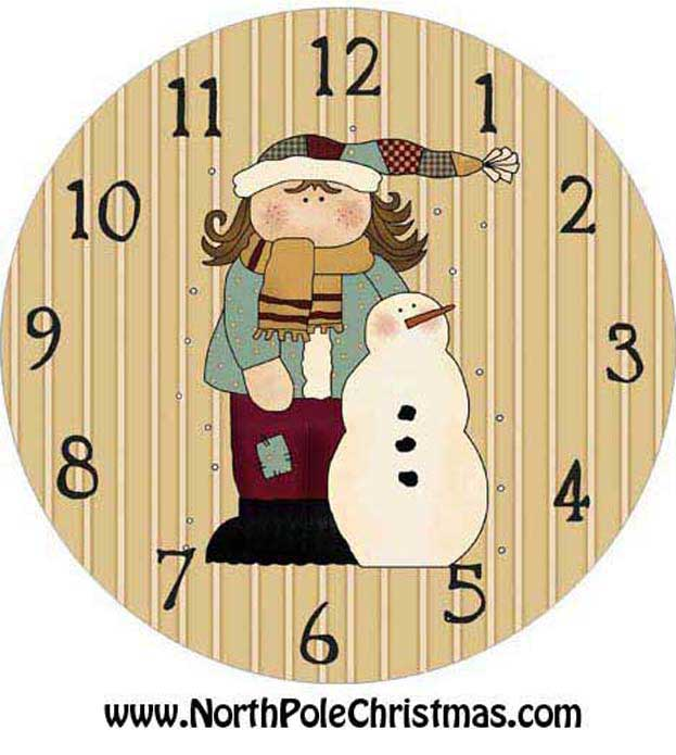 girl and snowman clock face