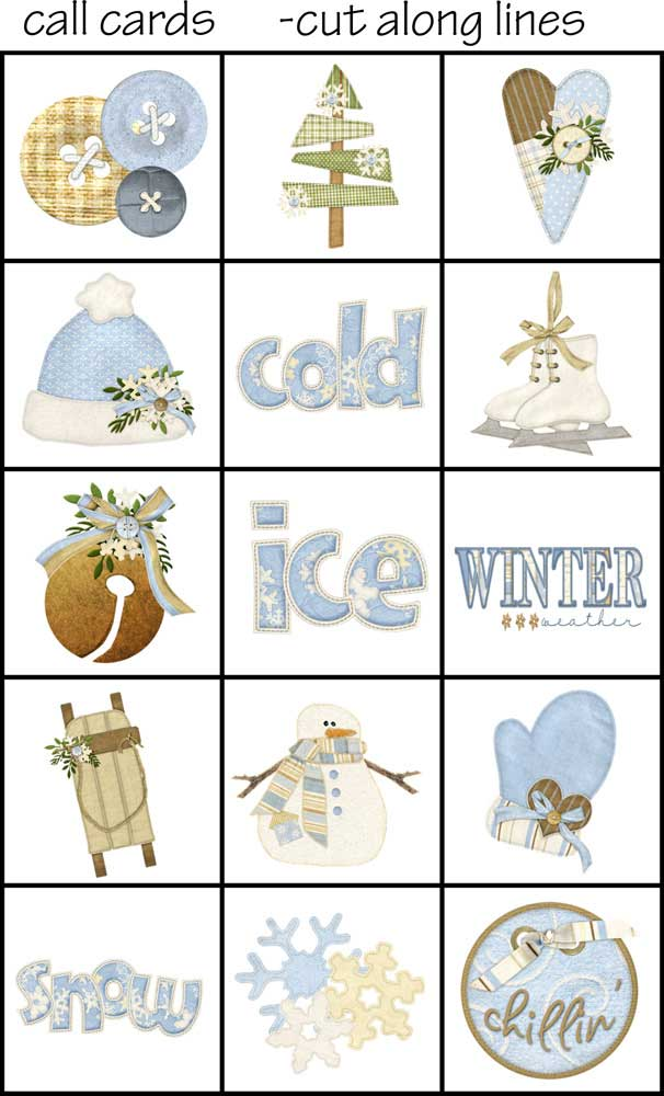 This is an image of Canny Winter Bingo Cards Free Printable