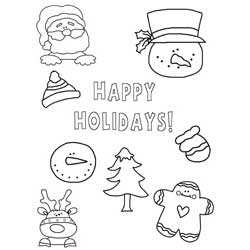 Christmas Stickers Coloring Page