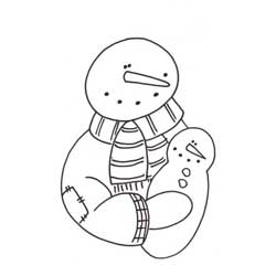 Snowman and Little Snowman Coloring Page