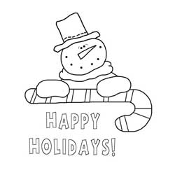 Snowman and Candy Cane Coloring Page