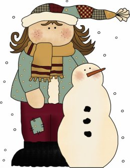 Girl with Snowman Template