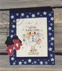 Welcome Friends and Flakes Snowman Stitchery Pattern