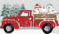 Christmas Red Truck with Snowmen