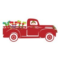 Christmas Truck Clipart with Elf Legs