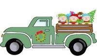 Christmas Truck with Tree and Elves